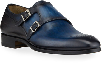 Magnanni Men's Double-Monk Leather Loafers