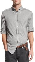 Brunello Cucinelli Long-Sleeve Stretch-Knit Shirt, Gray