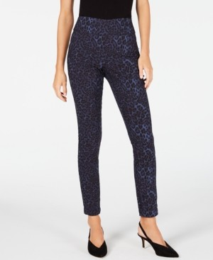 INC International Concepts Inc Blue Leopard Skinny Pants, Created for Macy's