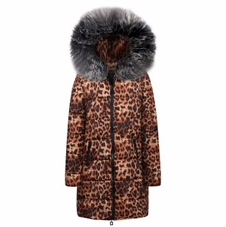 Canifon Coat Womens Winter Leopard Print Parka Hooded Coat Down Cotton Jacket Long Outwear Black