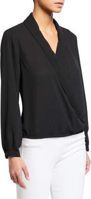 Neiman Marcus Shawl Collar Faux Wrap Blouse