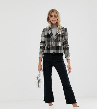 Miss Selfridge cropped jacket in grey check