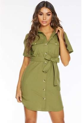 Quiz Khaki Cotton Short Sleeve Utility Shirt Dress