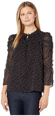 CeCe Long Sleeve Ruffled Wistful Blooms Blouse with Tie (Rich Black) Women's Blouse