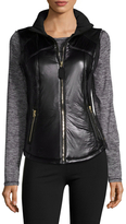 Betsey Johnson Neoprene Faux Leather Stand Collar Vest