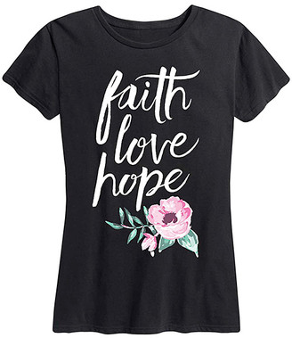 Instant Message Women's Women's Tee Shirts BLACK - Black 'Faith Love Hope' Painted Flowers Relaxed-Fit Tee - Women