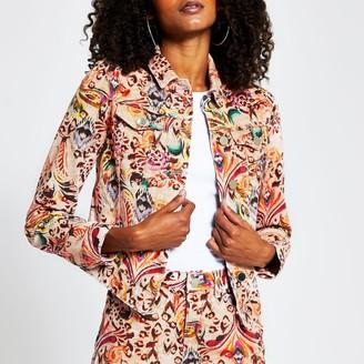 River Island Womens Pink paisley print long sleeve denim jacket