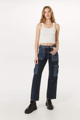 BDG Patchwork Skate Jeans - blue 24W 30L at Urban Outfitters