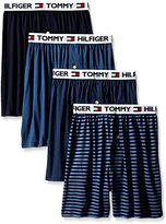 Tommy Hilfiger Men's 4 Pack Grey Solid and Stripes Knit Boxers