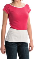 Joan Vass Color-Block Cotton Shirt - Short Sleeve (For Women)