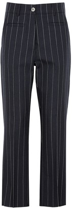 Loewe Navy pinstriped wool trousers