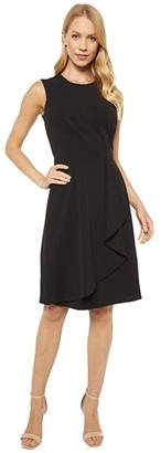 Calvin Klein Sleeveless Dress with Pleat and Ruffle Detail (Black) Women's Dress