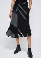 Yohji Yamamoto Grey Right Tuck Skirt