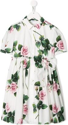 Dolce & Gabbana Kids Rose Print Pleated Dress