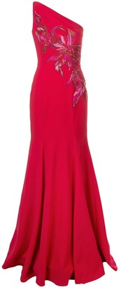 Marchesa Notte One Shoulder Long Dress