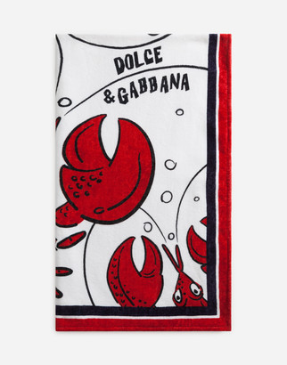 Dolce & Gabbana Beach Towel In Sponge With Lobster Print
