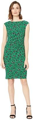 Lauren Ralph Lauren Novellina Bauwens Floral Cap Sleeve Day Dress (Malachite/Lighthouse Navy/Multi) Women's Dress