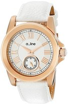 A Line a_line Women's AL-80022-RG-02-WH Amare Silver Dial White Leather Band Watch