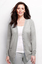 Classic Women's Plus Size Merino Long V-neck Cardigan Sweater-Pale Silver Heather