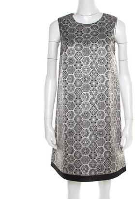 Gucci Monochrome Metallic Floral Jacquard Sleeveless Dress S