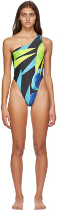 Louisa Ballou SSENSE Exclusive Blue and Yellow Plunge One-Piece Swimsuit