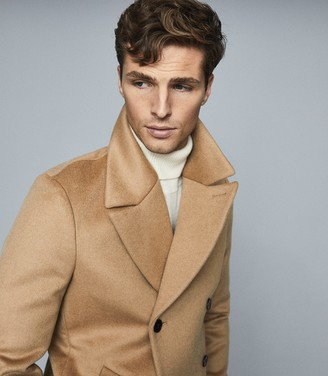 Reiss Hector - Wool Blend Double Breasted Peacoat in Camel