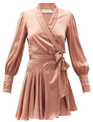 Zimmermann Belted Silk Wrap Mini Dress - Light Pink