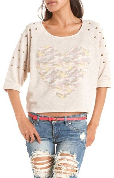 Camo Heart Studded Sweatshirt