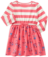 Gymboree Sunkist Coral Stripe Pup Fit & Flare Dress - Infant & Toddler