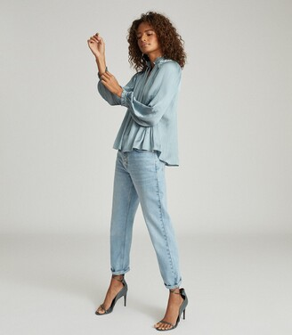 Reiss Everley - Pleat Detailed Blouse in Teal