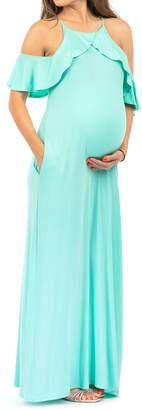 Mother Bee Maternity Women's Maxi Dresses Seafoam - Seafoam Ruffle-Accent Maternity Cold Shoulder Maxi Dress - Women
