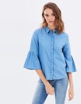 Miss Selfridge Flute Sleeve Denim Shirt