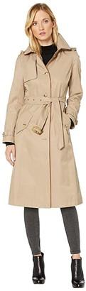 Lauren Ralph Lauren Long Raincoat w/ Hood and Piping (Sand) Women's Clothing