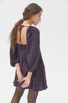 Urban Outfitters Lachlan Flannel Smocked Mini Dress
