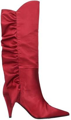 Marc Ellis High Heels Ankle Boots In Bordeaux Satin