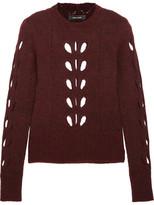 Isabel Marant Ilia Cutout Pointelle-knit Sweater - Burgundy