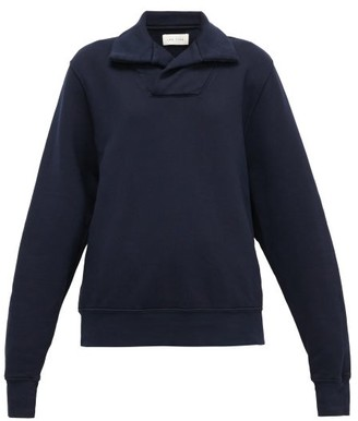 LES TIEN Yacht Open-collar Cotton Sweatshirt - Navy