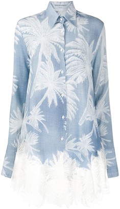 Ermanno Scervino Palm Print Embroidered Shirt