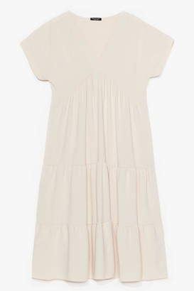 Nasty Gal Womens Can't Smock Us Down Tiered Mini Dress - Stone