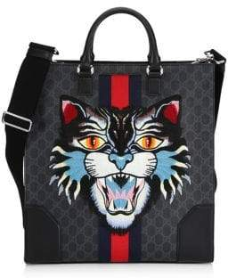 Gucci GG Leather Angry Cat Tote