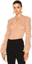 Nicholas High Neck Ruffle Blouse in Pink.