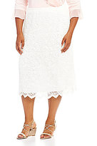 Ruby Rd. Plus Pull-On Pleated Floral Scalloped Lace Skirt