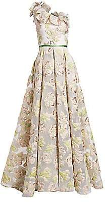 Marchesa Women's One-Shoulder Floral Jacquard A-Line Gown