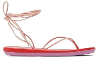 Ancient Greek Sandals Bi-colour Wraparound Leather Sandals - Pink Multi