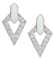 David Webb Women's Motif 18K Yellow Gold, Platinum, Double Diamond & White Enamel Earrings