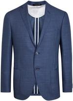 Corneliani Blue Wool Jacquard Blazer