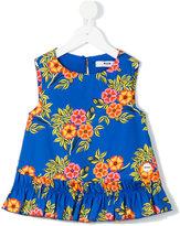 MSGM floral print frill hem top - kids - Cotton/Spandex/Elastane - 4 yrs