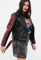 Missguided Curve Black Faux Leather Panel Biker Jacket