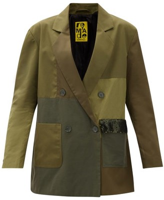 Marques Almeida Double-breasted Upcycled Patchwork Jacket - Khaki