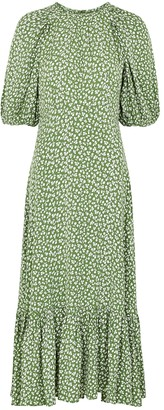 By Ti Mo Green Floral-print Midi Dress